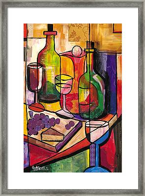 Still Life Of Fruit Wine And Cheese Framed Print