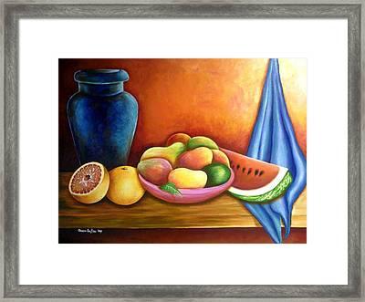 Still Life Of Fruits Framed Print