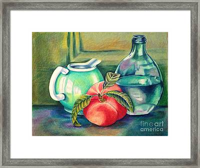 Still Life Of Peach Pitcher And Decanter Of Water Framed Print by Julia Gatti
