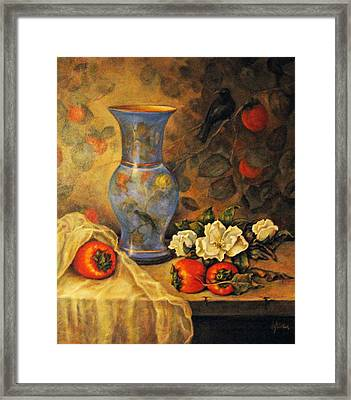 Still Life Of Persimmons  Framed Print