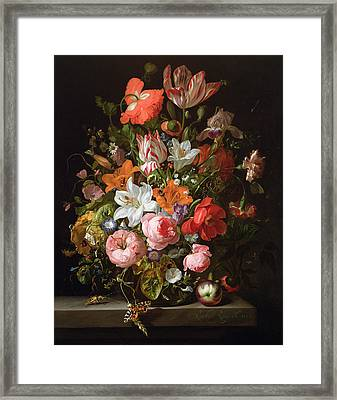 Still Life Of Roses, Lilies, Tulips And Other Flowers In A Glass Vase With A Brindled Beauty Framed Print by Rachel Ruysch