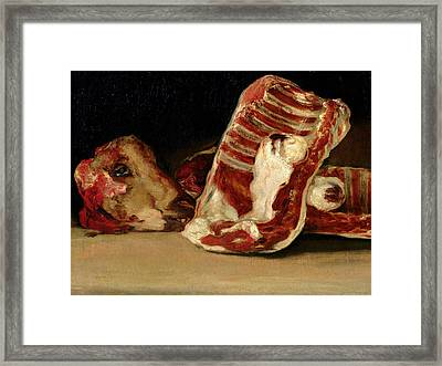 Still Life Of Sheep's Ribs And Head Framed Print by Francisco Jose de Goya y Lucientes