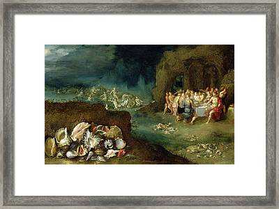 Still Life Of Shells With The Feast Of The Gods, C.1615 Oil On Copper Framed Print by Frans II the Younger Francken