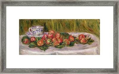 Still Life Of Strawberries And A Tea Cup Framed Print by Pierre Auguste Renoir