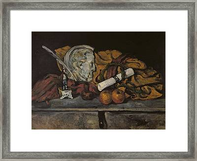 Still Life Of The Artists Accessories Framed Print by Paul Cezanne