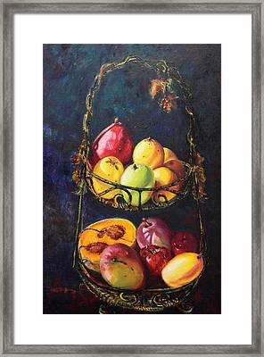 Still Life Of Tropical Fruits Bodegon Tropical Framed Print by Estela Robles Galiano