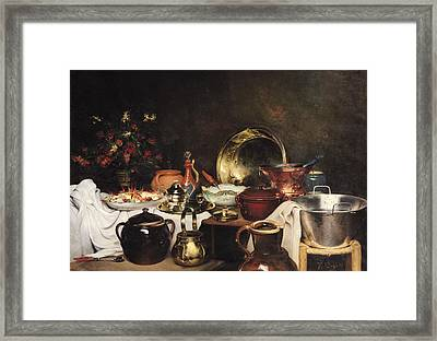 Still Life Oil On Canvas Framed Print by Theodore Charles Ange Coquelin