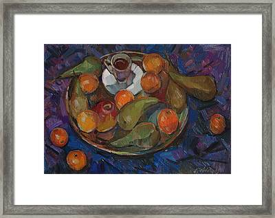 Still Life On A Tray Framed Print by Juliya Zhukova