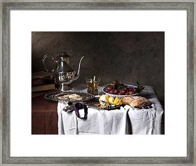 Little Breakfast Berkemeyer-oysters And Bread Framed Print by Levin Rodriguez