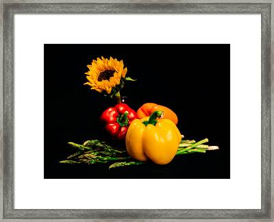 Still Life Peppers Asparagus Sunflower Framed Print by Jon Woodhams