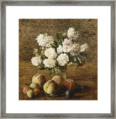 Still Life Roses And Fruits Framed Print by Ignace Francois Bonhomme