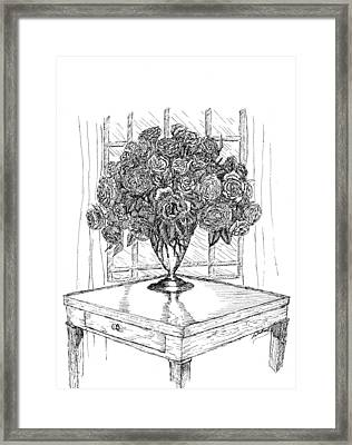 Still Life Roses Framed Print by Lee Halbrook