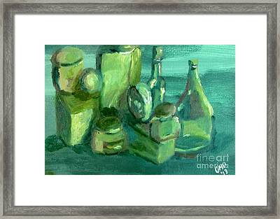 Still Life Study In Green Framed Print by Greg Mason Burns