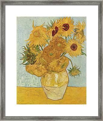 Still Life Sunflowers Framed Print by Vincent Van Gogh
