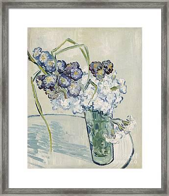 Still Life Vase Of Carnations Framed Print