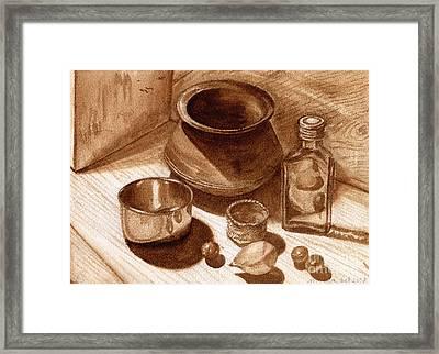 Framed Print featuring the painting Still Life Walnut Ink by Mukta Gupta