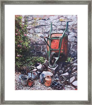 Still Life Wheelbarrow With Collection Of Pots By Stone Wall Framed Print