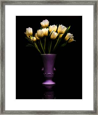 Still Life - White Tulips Framed Print by Jon Woodhams