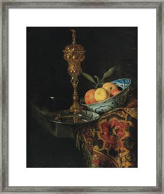 Still Life With A Bowl Of Oranges A Pewter Plate And Gilt Cup Framed Print by Christiaen Striep attributed to