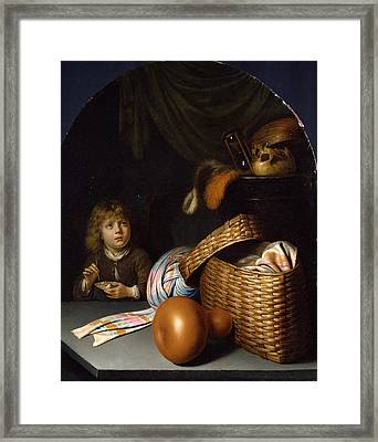 Still Life With A Boy Blowing Soap-bubbles Framed Print