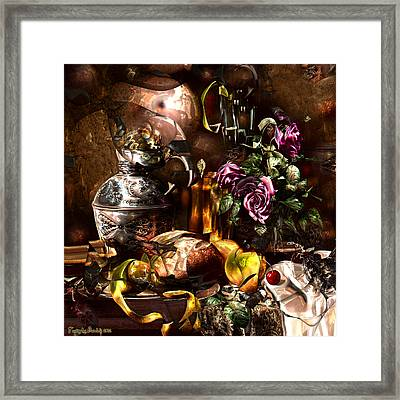 Still Life With A Cherry.  Framed Print by Tautvydas Davainis
