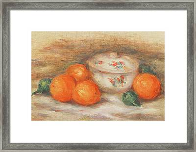 Still Life With A Covered Dish And Oranges Framed Print by Pierre Auguste Renoir