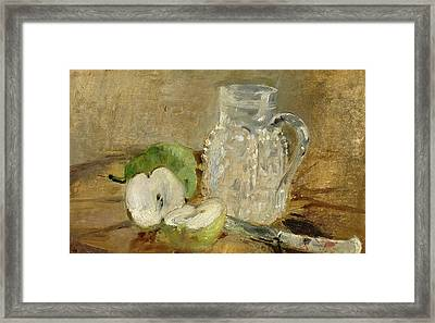 Still Life With A Cut Apple And A Pitcher Framed Print by Berthe Morisot