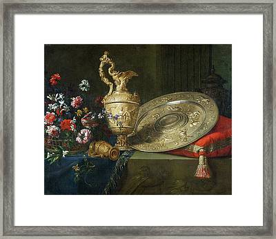 Still Life With A Gilded Ewer Framed Print by Meiffren Conte