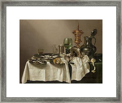 Still Life With A Gilt Cup Framed Print by Quint Lox