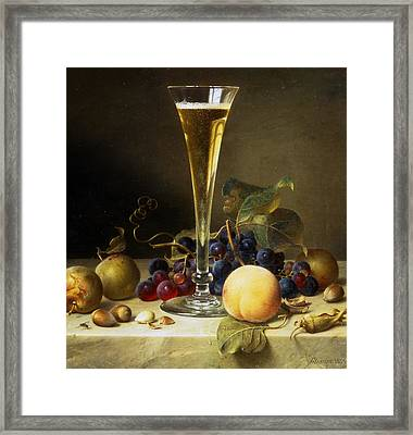 Still Life With A Glass Of Champagne Framed Print