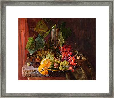 Still-life With A Glass Of Wine And Grapes Framed Print