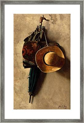 Still Life With A Hat An Umbrella And A Bag Framed Print