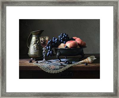 Still Life With A Jug And Fruit And A Shell. Framed Print by Helen Tatulyan