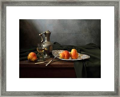 Still Life With A Jug And Roamer And Pears Framed Print by Helen Tatulyan