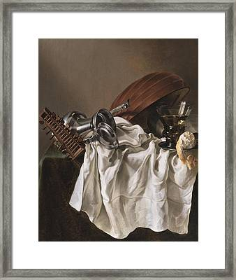 Still Life With A Lute Framed Print by Willem van Odekercken