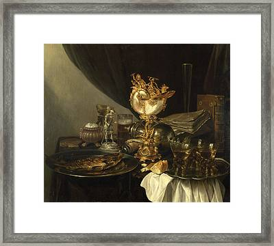 Still Life With A Nautilus Cup Framed Print by Gerrit Willemsz Heda