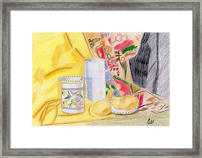 Still Life With A Patterned Background Framed Print by Bav Patel