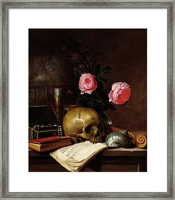 Still Life With A Skull Oil On Canvas Framed Print by Letellier