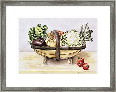 Still Life With A Trug Of Vegetables Framed Print