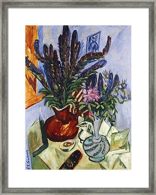 Still Life With A Vase Of Flowers Framed Print by Ernst Ludwig Kirchner