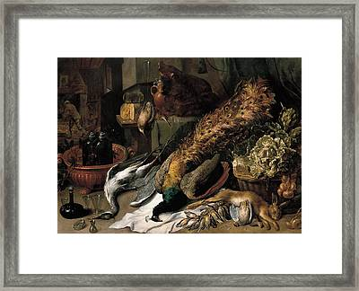 Still Life With A Wine Cooler Framed Print by Frans Snyders