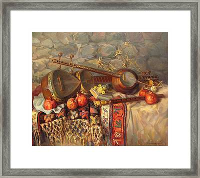 Still-life With Armenian Musical Instruments Duduk Thar And Qyamancha Framed Print