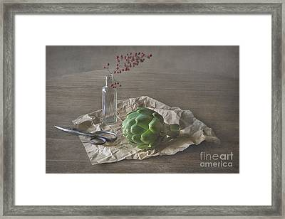 Still Life With Artichoke And Red Berries Framed Print by Elena Nosyreva