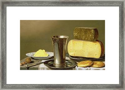 Still Life With Beaker Cheese Butter And Biscuits Framed Print by Floris van Schooten
