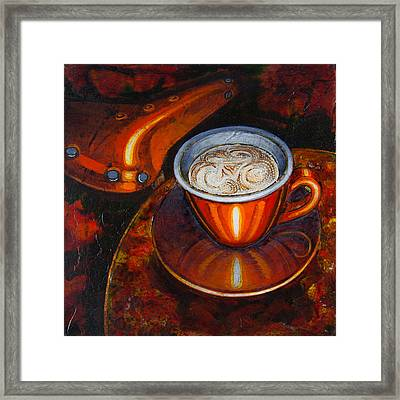 Framed Print featuring the painting Still Life With Bicycle Saddle by Mark Howard Jones