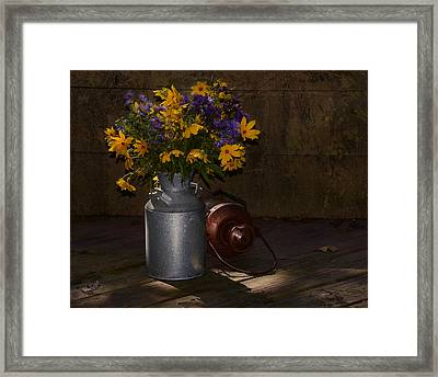 Still Life With Blue And Yellow Flowers Framed Print by Ann Bridges