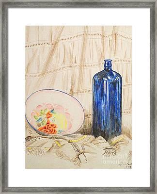 Still-life With Blue Bottle Framed Print by Alan Hogan