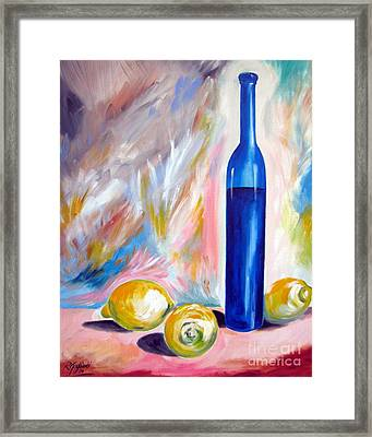 Still Life With Blue Bottle And Three Lemons Framed Print