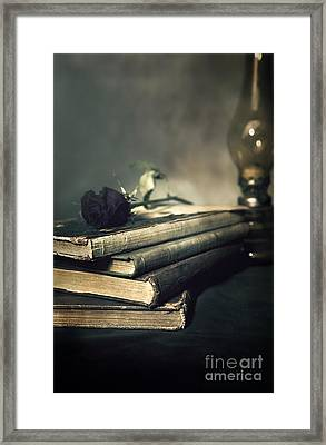 Still Life With Books And Roses Framed Print