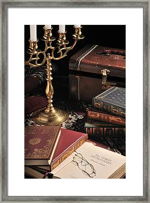 Framed Print featuring the photograph Still Life With Books by Krasimir Tolev